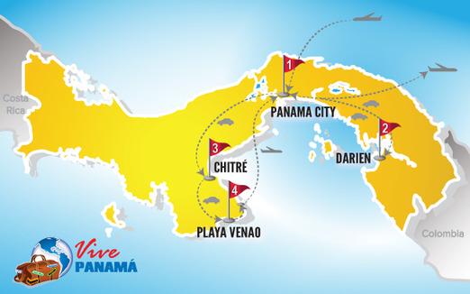 Panama Urlaub | Karte Rundreise Darien und Azuero