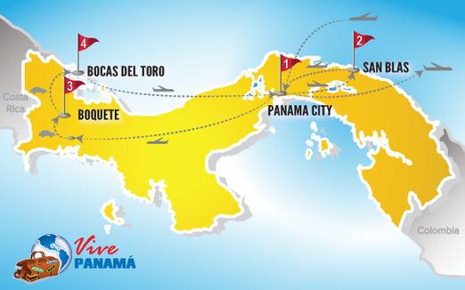 Panama Urlaub | Karte Karibik und Bergwelt Panamas